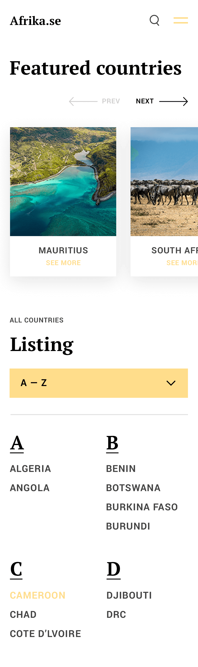 Afrika Country Listing Mobile